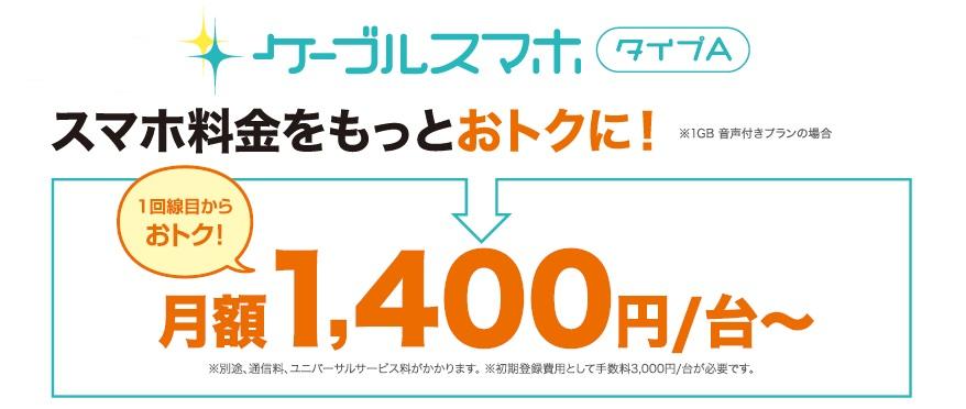 スマホを気軽に始めたい方へ朗報!!ケーブルスマホなら月額2,930円から、スマホが使えます!!(ZTE Blade Vecの端末料金にデータプラン1GBの場合)